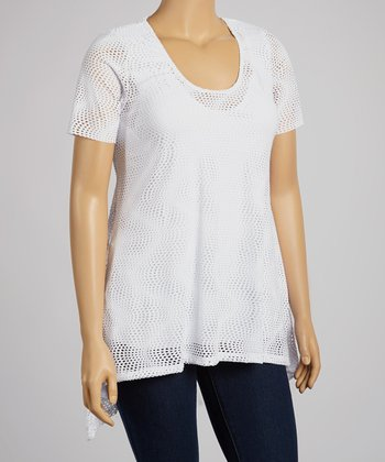 White Mesh Hi-Low Tunic - Plus