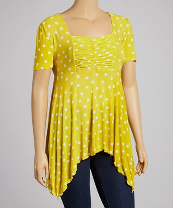 Yellow Dot Sidetail Tunic - Plus