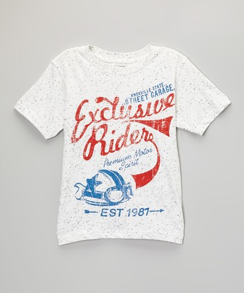 Pure White 'Exclusive Rider' Tee - Toddler & Boys