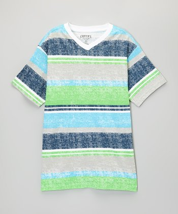 Hot Green Bold Stripe Stripe V-Neck Tee - Toddler & Boys