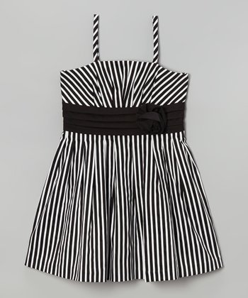 Black & White Stripe Rosette Dress - Girls