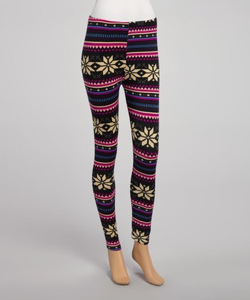 Black & Violet Fair Isle Leggings