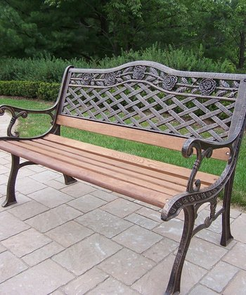 Antique Bronze Tea Rose Bench