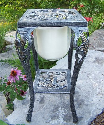 Antique Pewter Hummingbird Candleholder/Stand