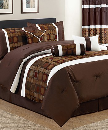 Brown Squares Comforter Set