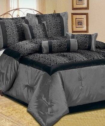 Gray Animal Print Comforter Set