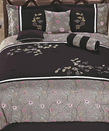 Purple Floral Luxury Comforter Set
