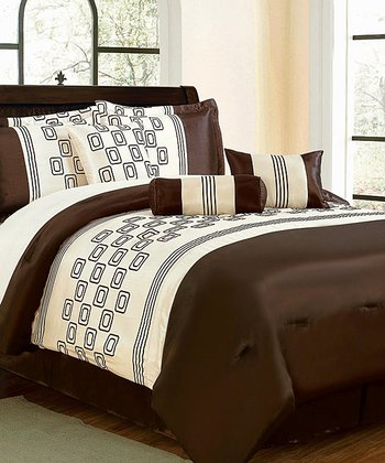Brown & White Luxury Comforter Set
