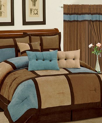 Brown & Aqua Luxury Comforter Set