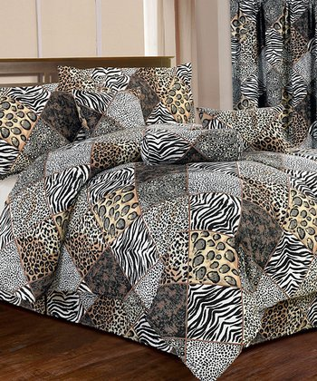 Black Animal Print Comforter Set