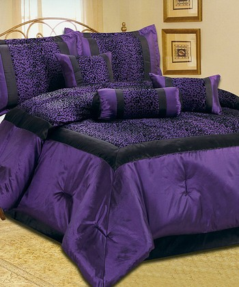 Deep Purple Animal Print Comforter Set