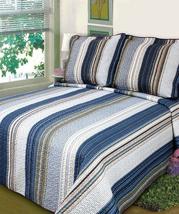 Blue Stripe Luxury Comforter Set