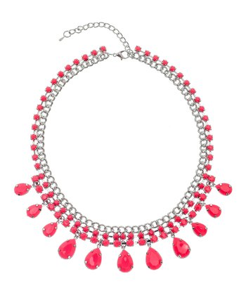 Neon Pink & Silver Teardrop Necklace