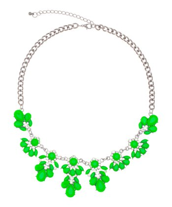 Neon Green & Sparkle Antique Flower Necklace
