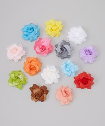 Red Rainbow Rosette Clip Set