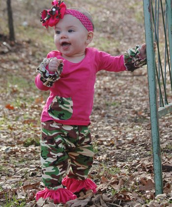 Hot Pink Top & Camo Ruffle Pants -  Infant, Toddler & Girls