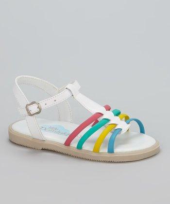 Little Dominique White T-Strap Sandal