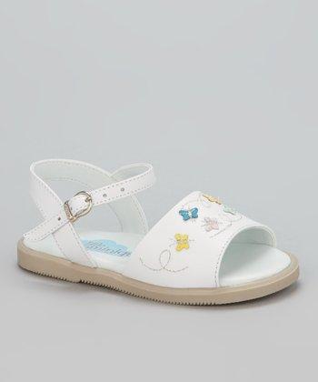 Little Dominique White Butterfly Sandal
