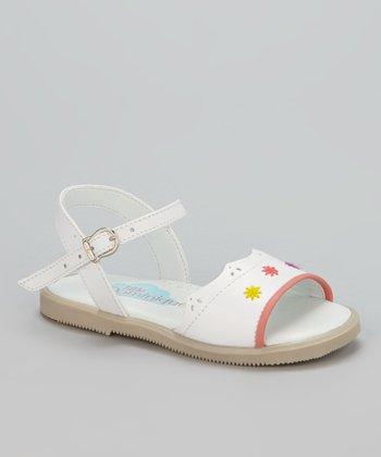 Little Dominique White Scallop Sandal