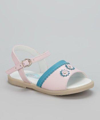 Little Dominique Pink & Blue Flower Sandal