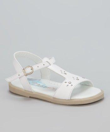 Little Dominique White Studded T-Strap Sandal