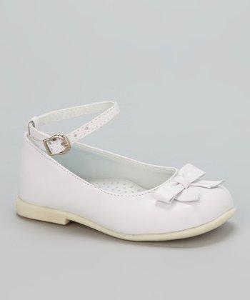 Little Dominique White Bow Ankle-Strap Flat