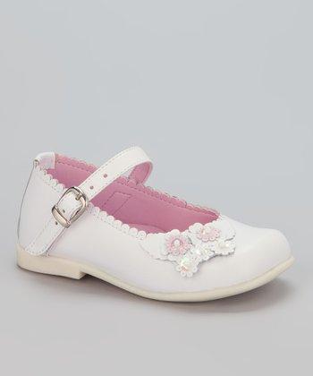 Little Dominique White Flower & Bead Mary Jane