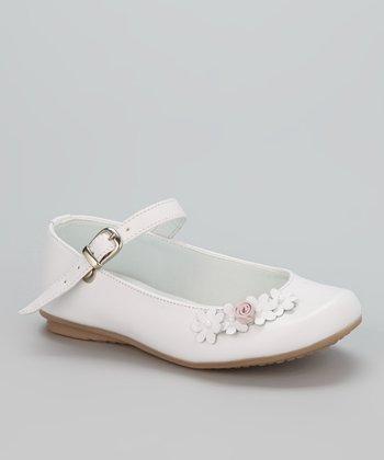 Little Dominique White Flower & Swirl Mary Jane