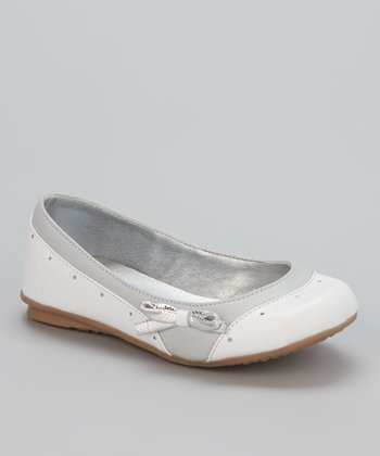 Little Dominique White & Gray Bow Ballet Flat