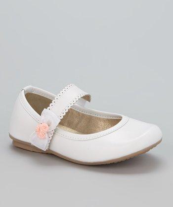 Little Dominique White Flower & Bow Mary Jane