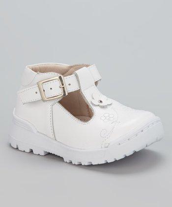 Little Dominique White Flower T-Strap Shoe