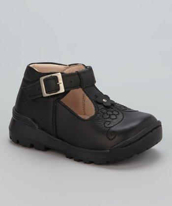 Little Dominique Black Flower T-Strap Shoe