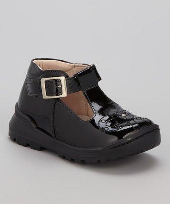 Little Dominique Black Buckle T-Strap Shoe