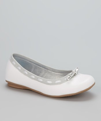 Little Dominique White & Gray Ballet Flat