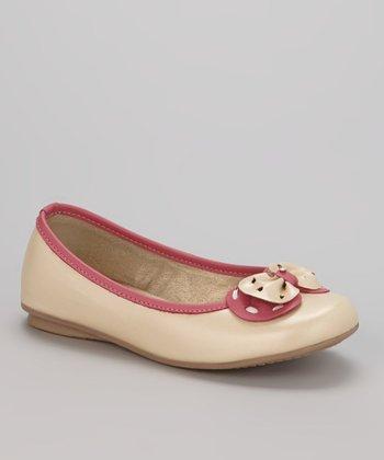 Little Dominique Beige & Pink Bow Ballet Flat