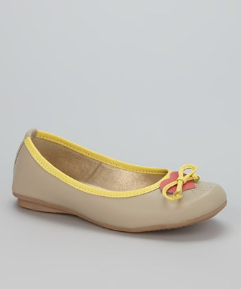 Little Dominique Beige & Yellow Ballet Flat