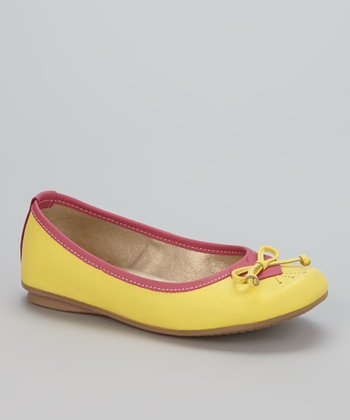 Little Dominique Yellow & Coral Ballet Flat