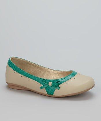 Little Dominique Beige & Green Ballet Flat