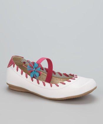 Little Dominique White & Pink Strap Ballet Flat