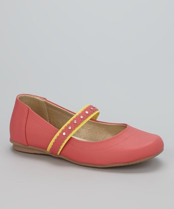 Little Dominique Coral & Yellow Strap Ballet Flat