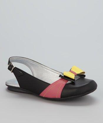 Little Dominique Black & Yellow Bow Sandal