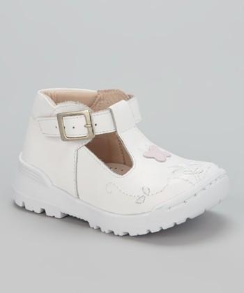 Little Dominique White Butterfly & Flower T-Strap Shoe