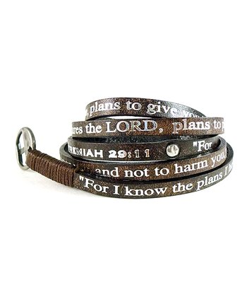 Brown Leather Studded 'Jeremiah 29:11' Wrap Bracelet