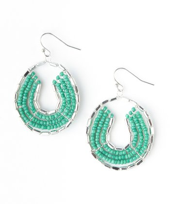 Turquoise Seed Bead Circle Earrings