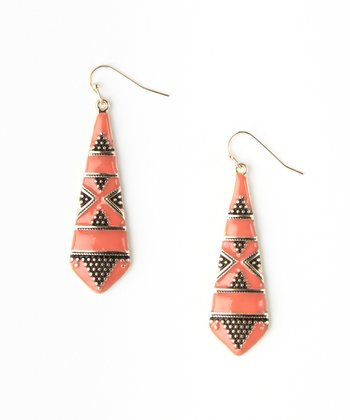 Coral Enamel Granulated Earrings