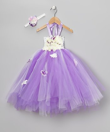 Purple Floral Tutu Dress & Headband - Infant & Girls