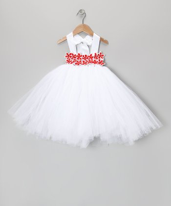 White & Red Star Flower Tutu Dress - Infant, Toddler & Girls
