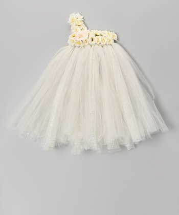 Ivory & Yellow Blossom Tutu Dress - Infant, Toddler & Girls