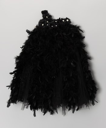 Black Feather Asymmetrical Dress - Infant & Toddler