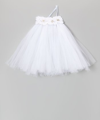 White Jewel Blossom Tutu Dress - Toddler & Girls
